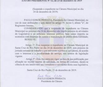 Comunicamos que no dia 24 de dezembro de 2019, não haverá expediente na Câmara Municipal